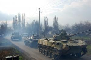 Колонна бригады по пути на Донбасс.