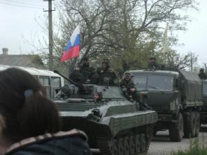 Колонна российской техники, юг Донецкой области, осень 2015 г. Хорошо видно армейские КАМАЗы (выпускаются с 2000-х годов и состоят на вооружении только ВС РФ).