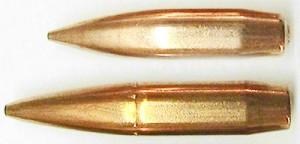 Куля .338 Norma Magnum (знизу) і .338 Lapua Magnum (зверху)