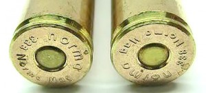 Клеймо фірми-виробника із вказанням калібру кулі на дні гільзи патрону .338 Norma Magnum