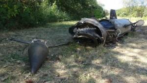 Остатки ракеты упавшей на  оккупированной территории. Лето 2014 год