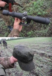 Николаевские десантники демонстрируют то, что осталось на месте столкновения  с группой российского спецназа (по их словам).
