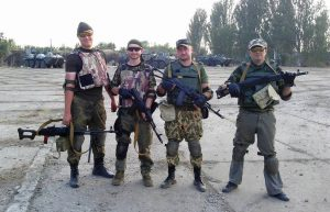 Добровольцы на аэродроме Краматорск. Отсюда начинался их путь на Саур-Могилу. Обратите внимание на камуфляж и снаряжение.