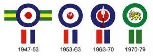 Маркировка на самолетах Родезийских ВВС в разный период использования.