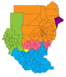 Политическая карта регионов и спорных между севером и югом территорий Судана. Голубой цвет - Южный Судан (включая Экваторию и Бахр-эль-Газаль); зелѐный цвет – Дарфур; фиолетовый цвет – Беджа; жѐлтый цвет - район Абьей, спорная территория; розовый цвет - Южный Кордофан и Голубой Нил, спорные территории