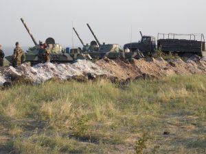 Батарея САУ «Нона» под Славянском, июнь 2014 г.