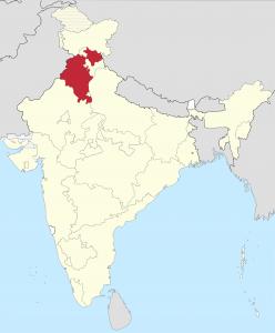 Червоним виділено штат Пенджаб - Батьківщину сикхів.